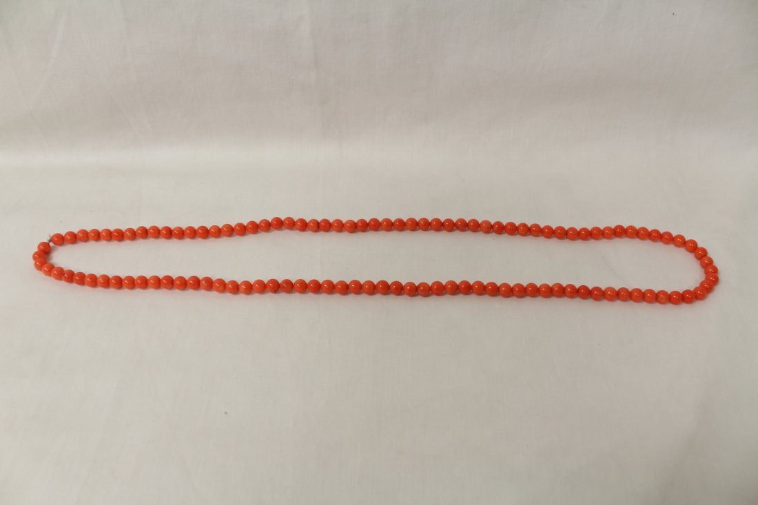 2 necklaces; agate bead and coral like bead - 2