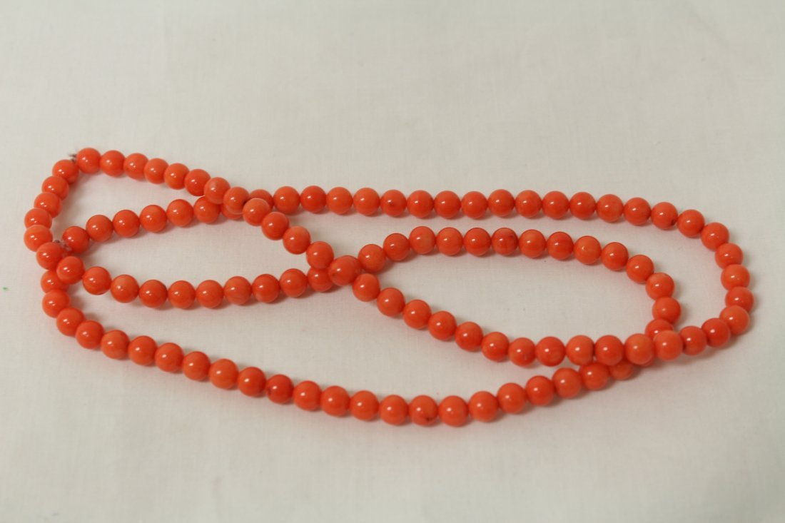 2 necklaces; agate bead and coral like bead - 3