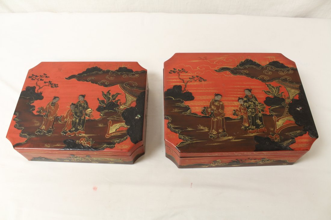 2 Chinese lacquer boxes