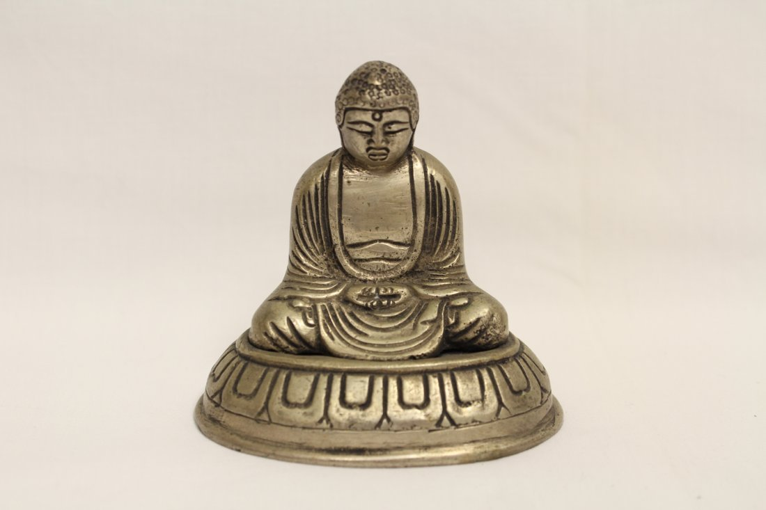 2 brass Buddha and a bronze wine cup - 4