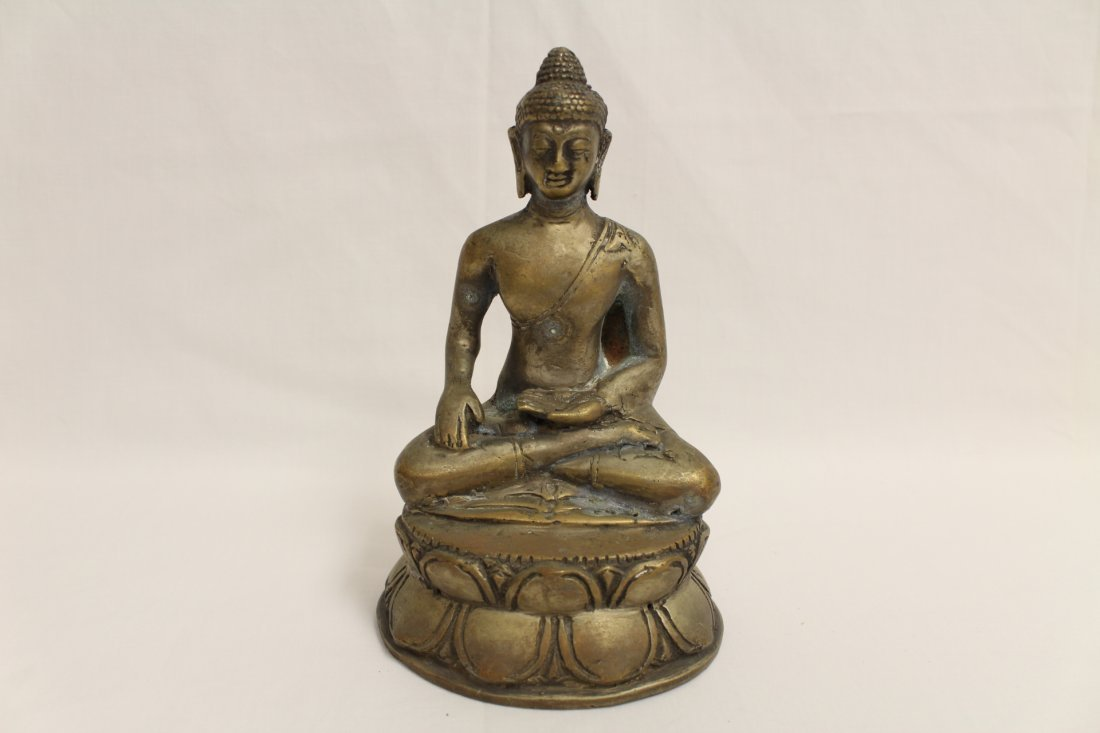 2 brass Buddha and a bronze wine cup - 7