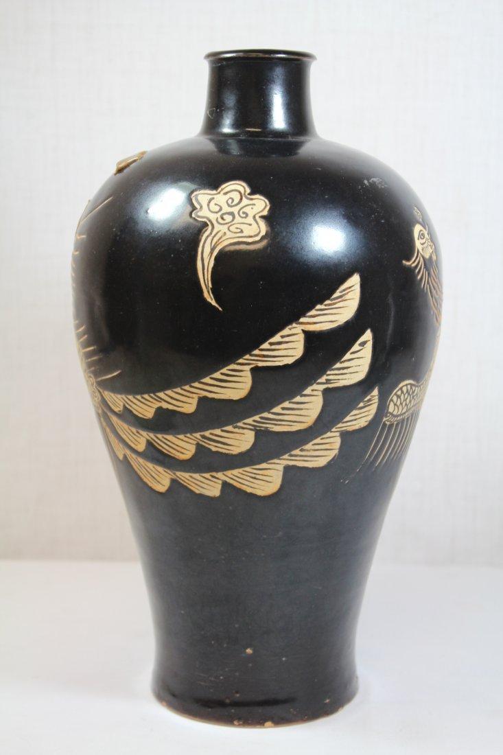 Chinese Song style black glazed vase - 2
