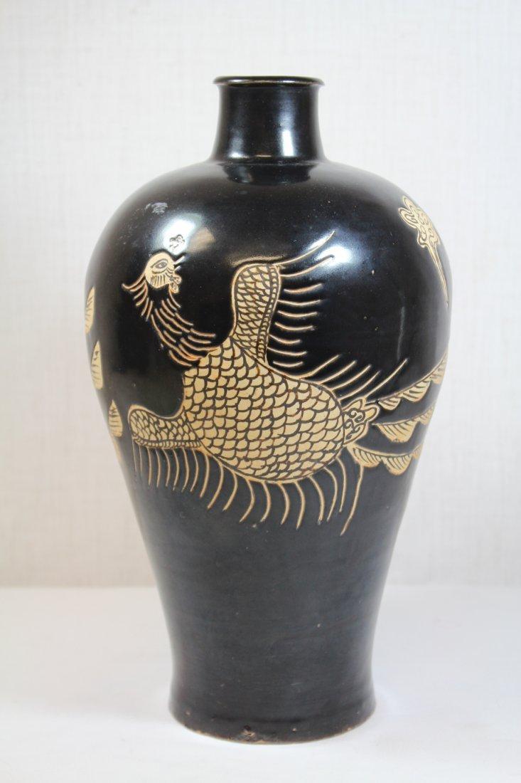 Chinese Song style black glazed vase - 3