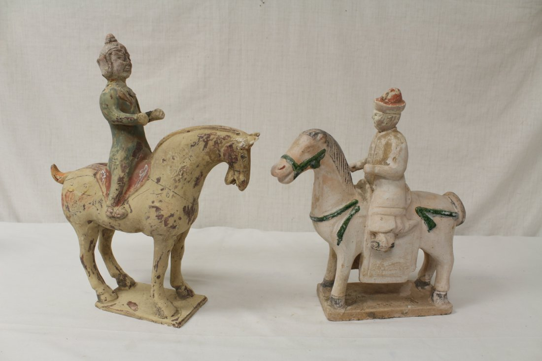 2 Tang style pottery figures