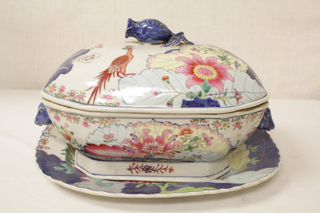 Chinese export style porcelain tureen w/ under plate