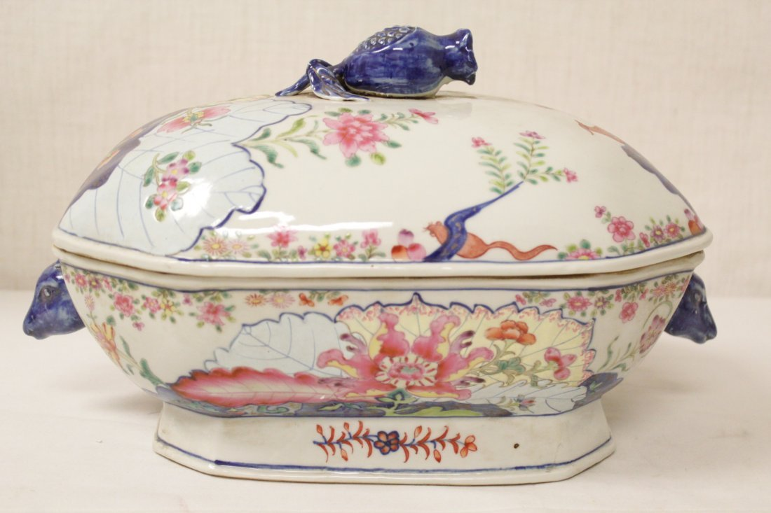 Chinese export style porcelain tureen w/ under plate - 2