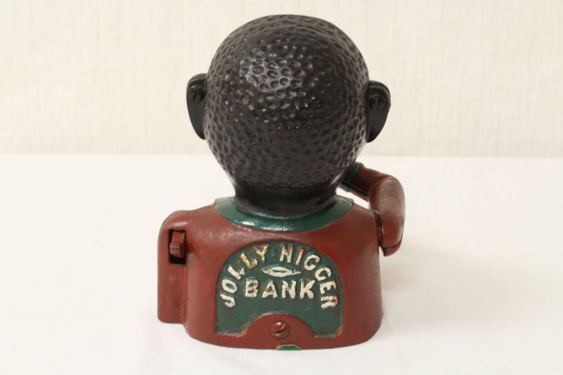 Cast iron bank & a vintage thrift bank for dime - 6