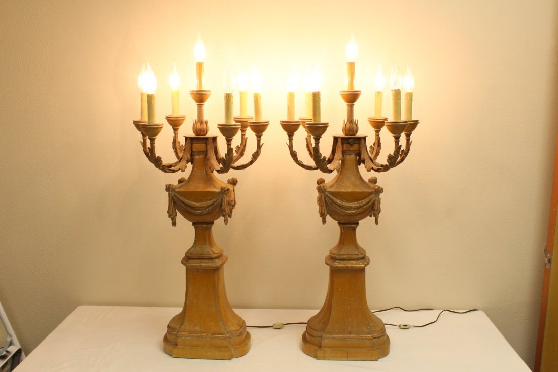 Pair French carved wood table lamps