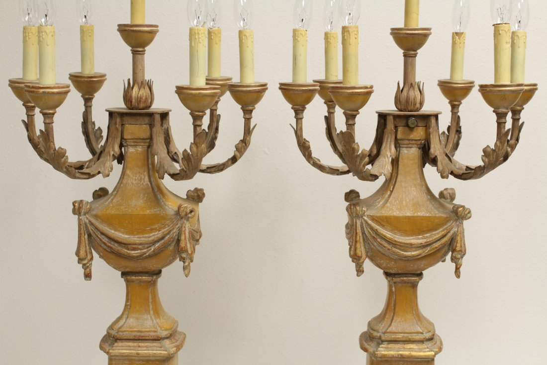 Pair French carved wood table lamps - 5