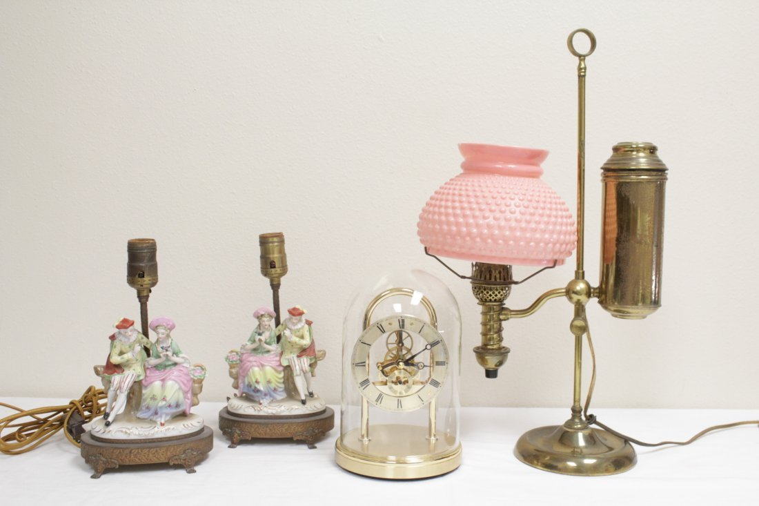 3 early 20th c. lamps And a Seiko dome clock