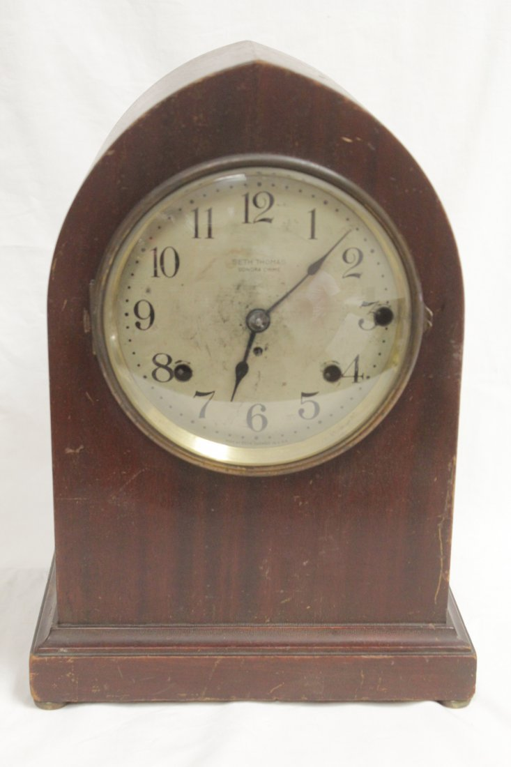 Rare wood case table clock by Seth Thomas
