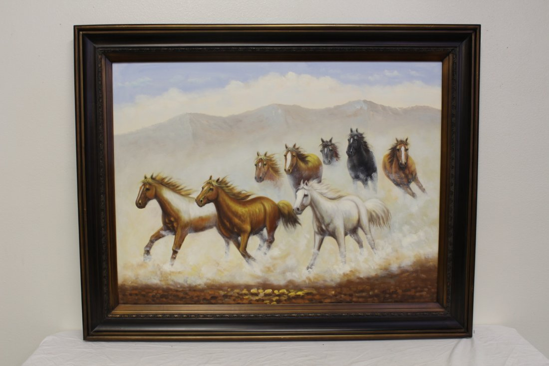 """Large oil on canvas """"8 horse"""""""