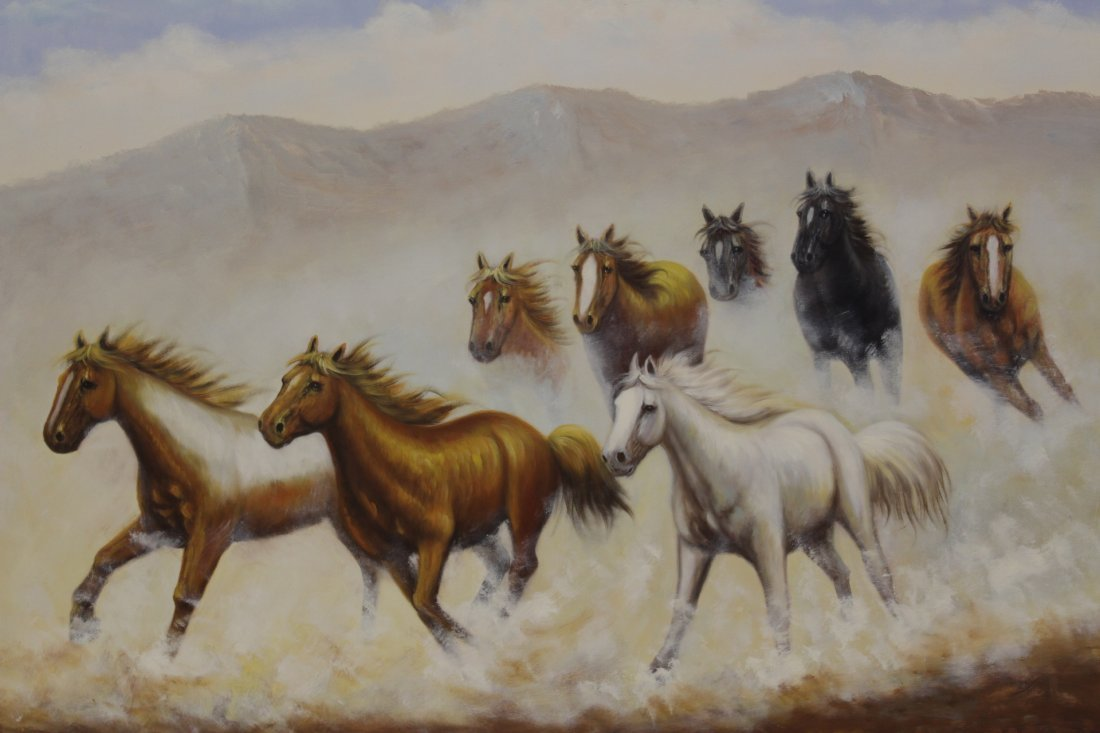 """Large oil on canvas """"8 horse"""" - 2"""