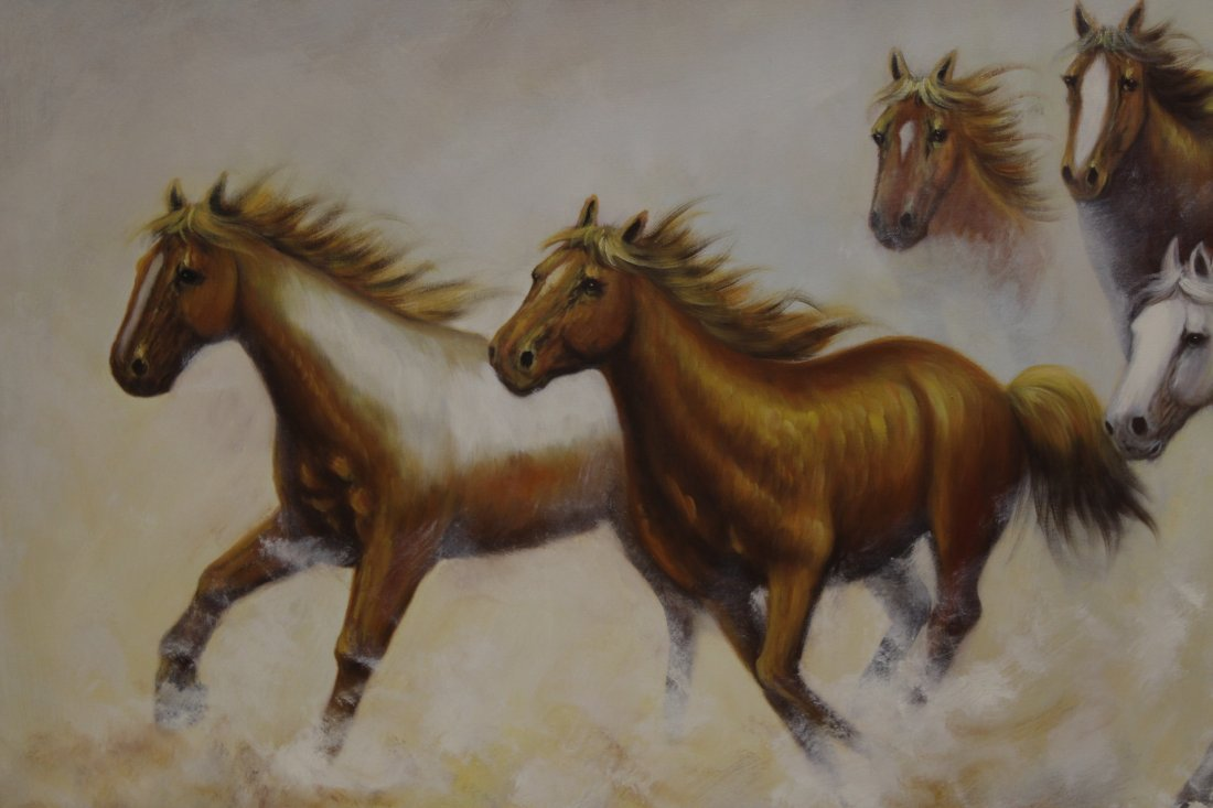 """Large oil on canvas """"8 horse"""" - 3"""