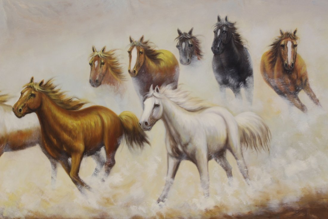 """Large oil on canvas """"8 horse"""" - 4"""
