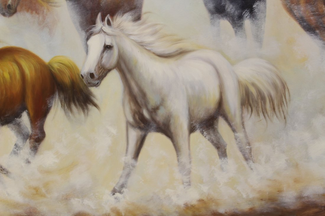 """Large oil on canvas """"8 horse"""" - 5"""