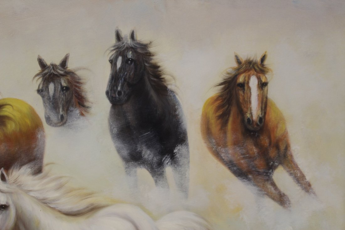 """Large oil on canvas """"8 horse"""" - 6"""