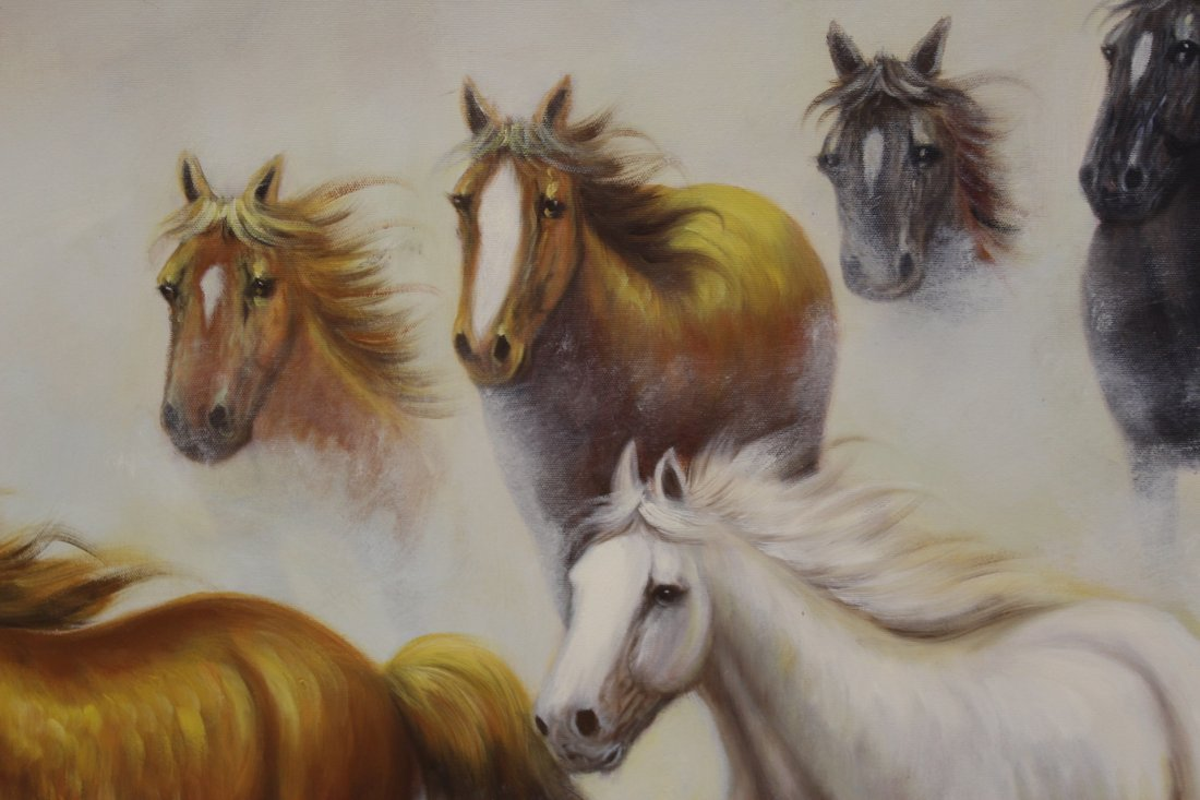 """Large oil on canvas """"8 horse"""" - 7"""