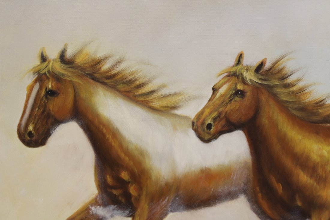 """Large oil on canvas """"8 horse"""" - 8"""