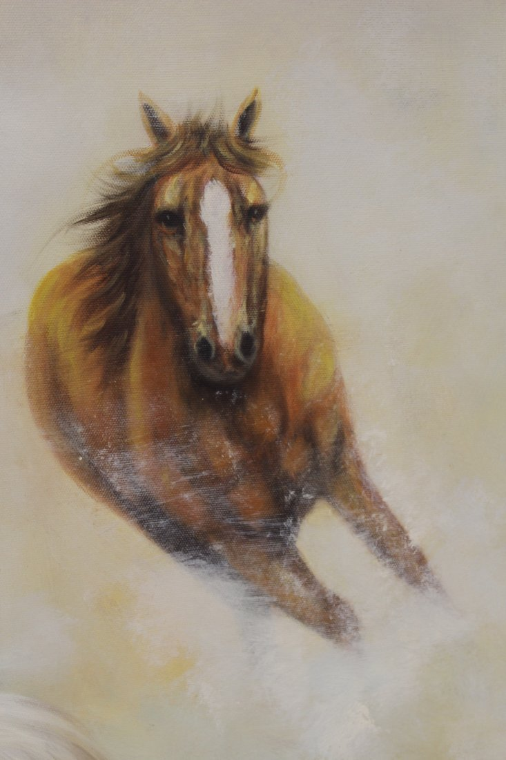 """Large oil on canvas """"8 horse"""" - 9"""