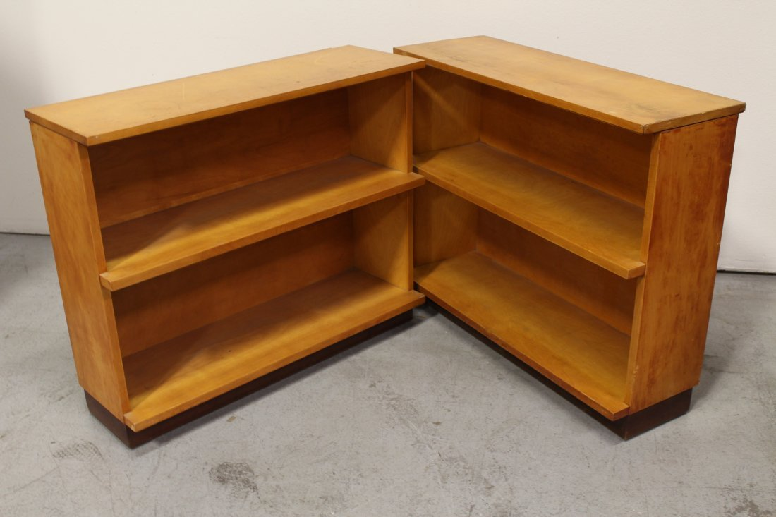 Set of 4 modern style blonde wood bookcases - 3