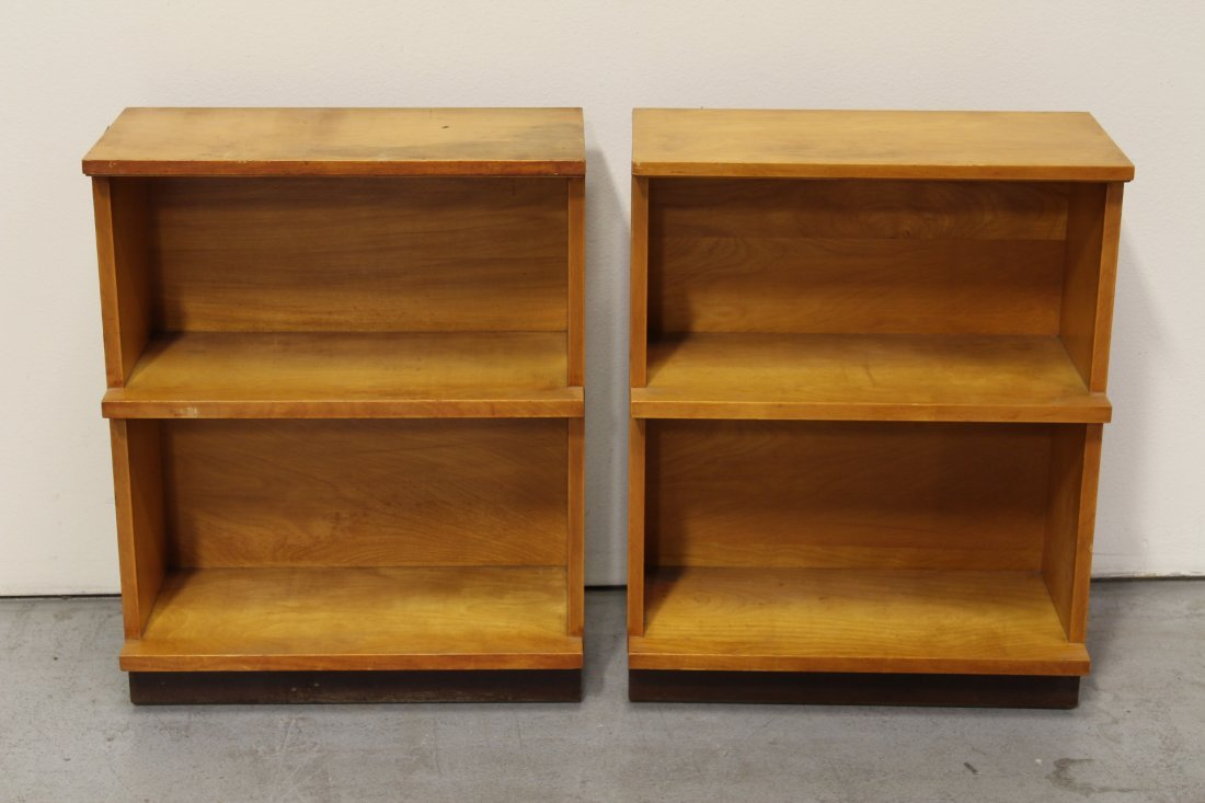 Set of 4 modern style blonde wood bookcases - 7