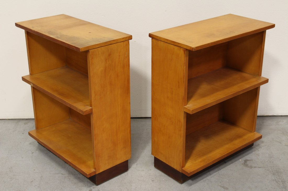 Set of 4 modern style blonde wood bookcases - 8