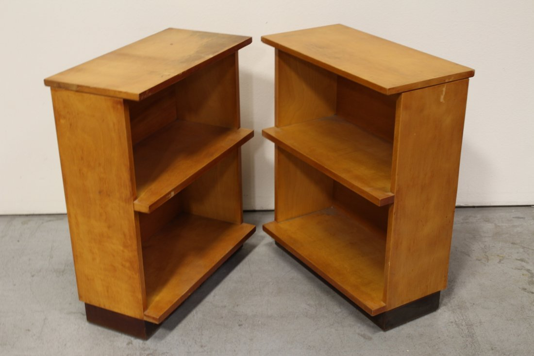 Set of 4 modern style blonde wood bookcases - 9
