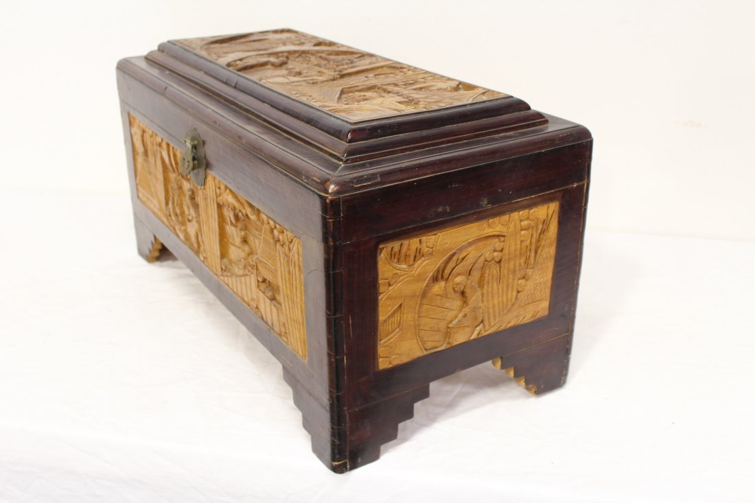 Chinese rosewood storage chest w/ carved panels - 10