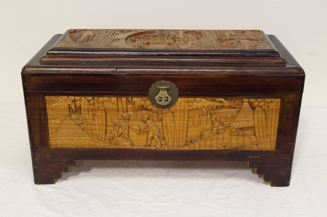 Chinese rosewood storage chest w/ carved panels