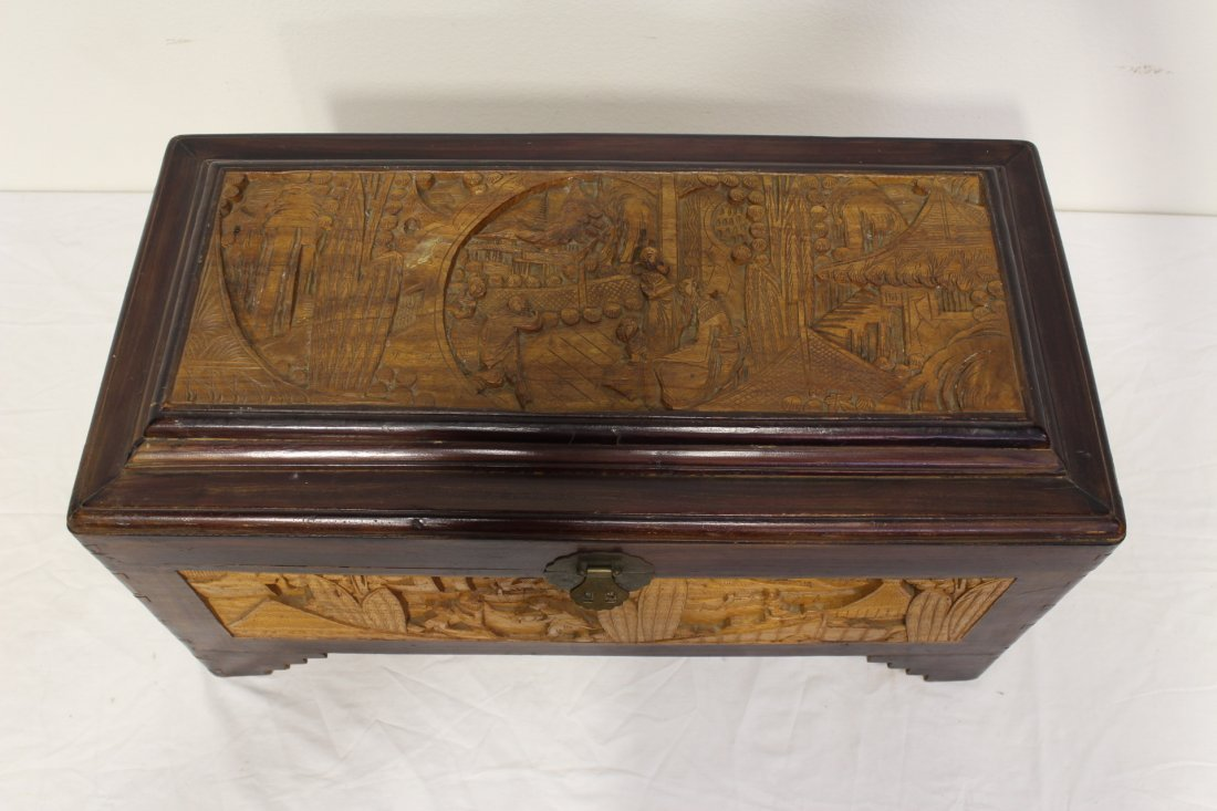 Chinese rosewood storage chest w/ carved panels - 2