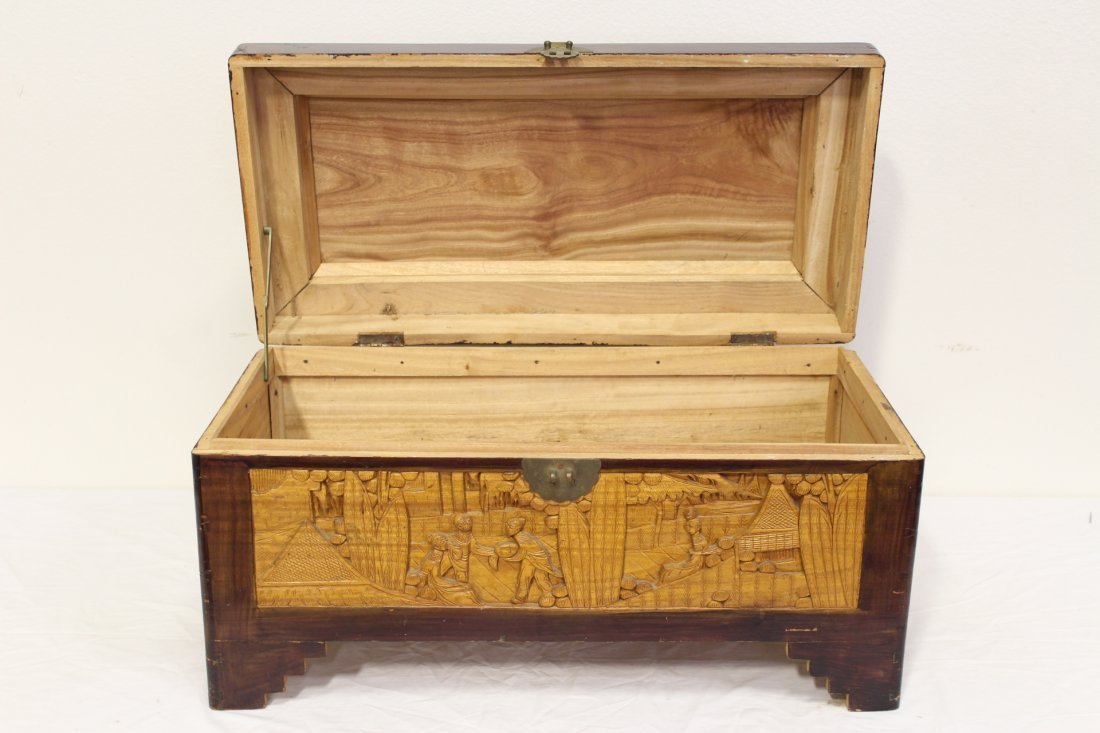 Chinese rosewood storage chest w/ carved panels - 3