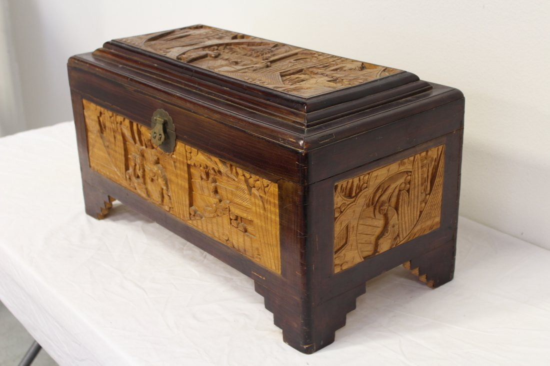 Chinese rosewood storage chest w/ carved panels - 5