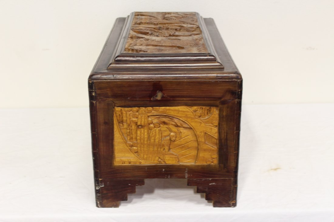 Chinese rosewood storage chest w/ carved panels - 6