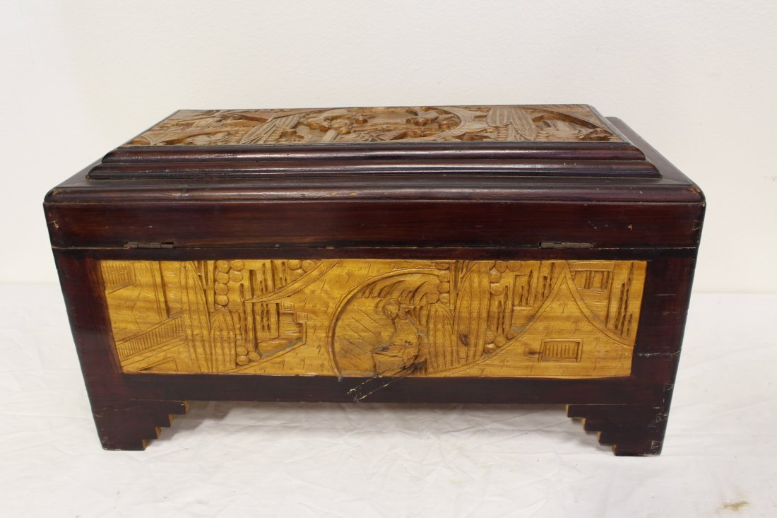 Chinese rosewood storage chest w/ carved panels - 7