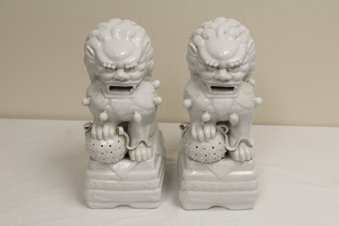 Pair Chinese white porcelain fulion
