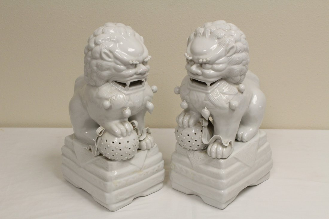 Pair Chinese white porcelain fulion - 2