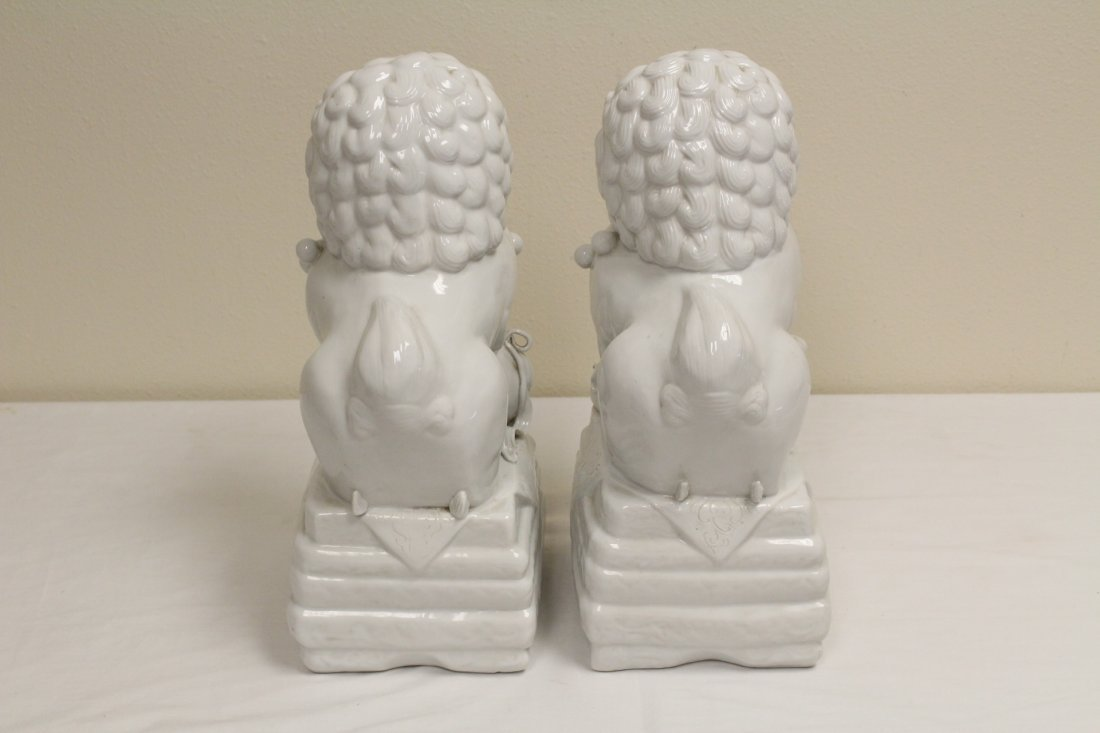 Pair Chinese white porcelain fulion - 5