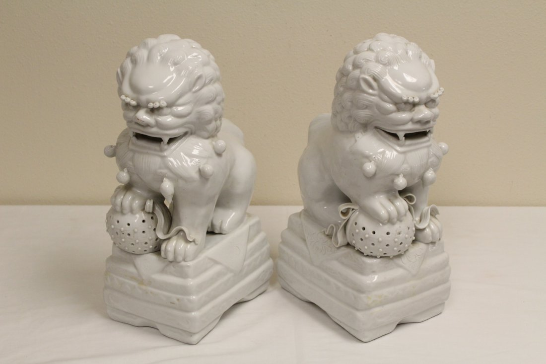 Pair Chinese white porcelain fulion - 7