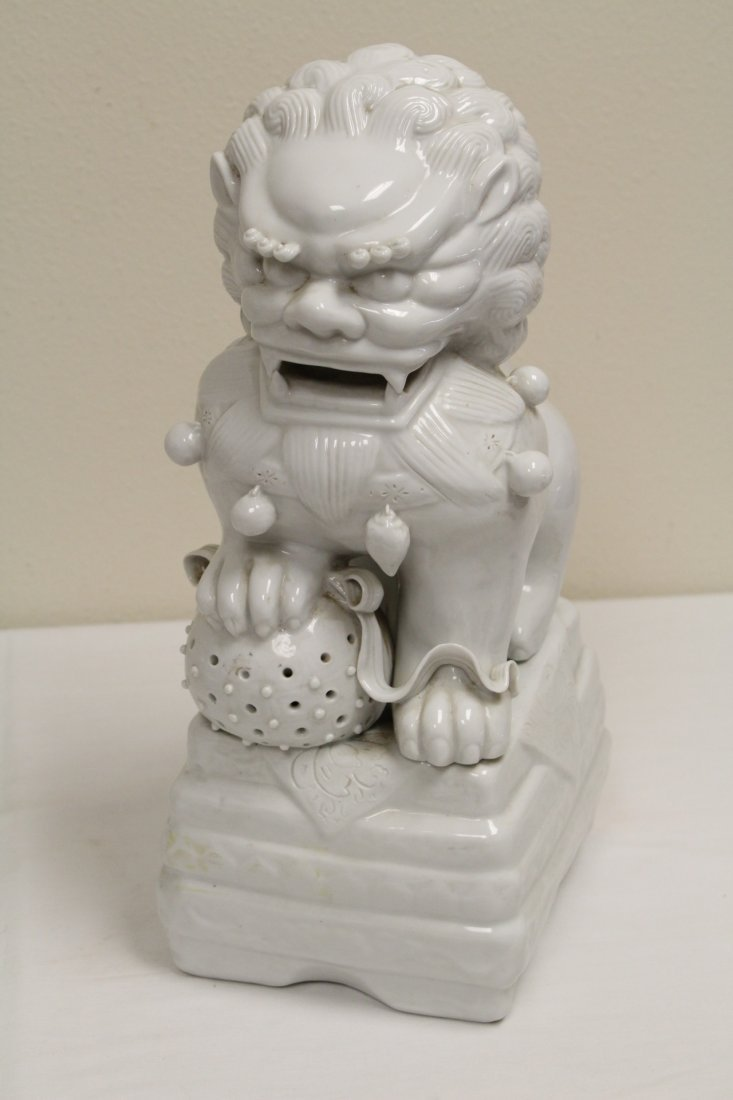 Pair Chinese white porcelain fulion - 9