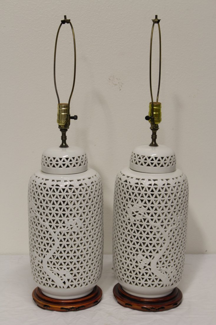 Pr Chinese porcelain covered jar made as lamps