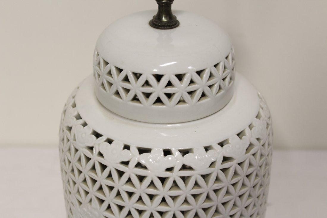 Pr Chinese porcelain covered jar made as lamps - 8