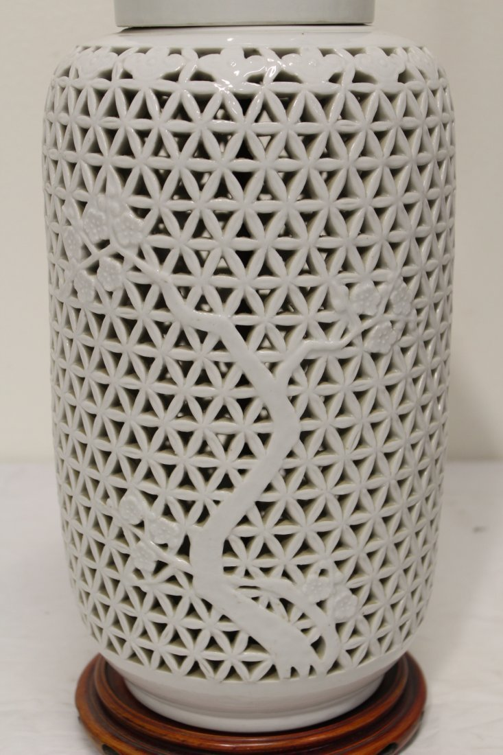 Pr Chinese porcelain covered jar made as lamps - 9