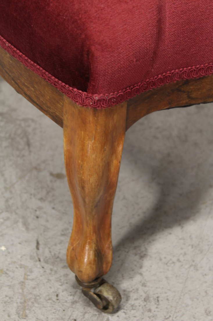 Rare Victorian walnut framed slipper chair - 10