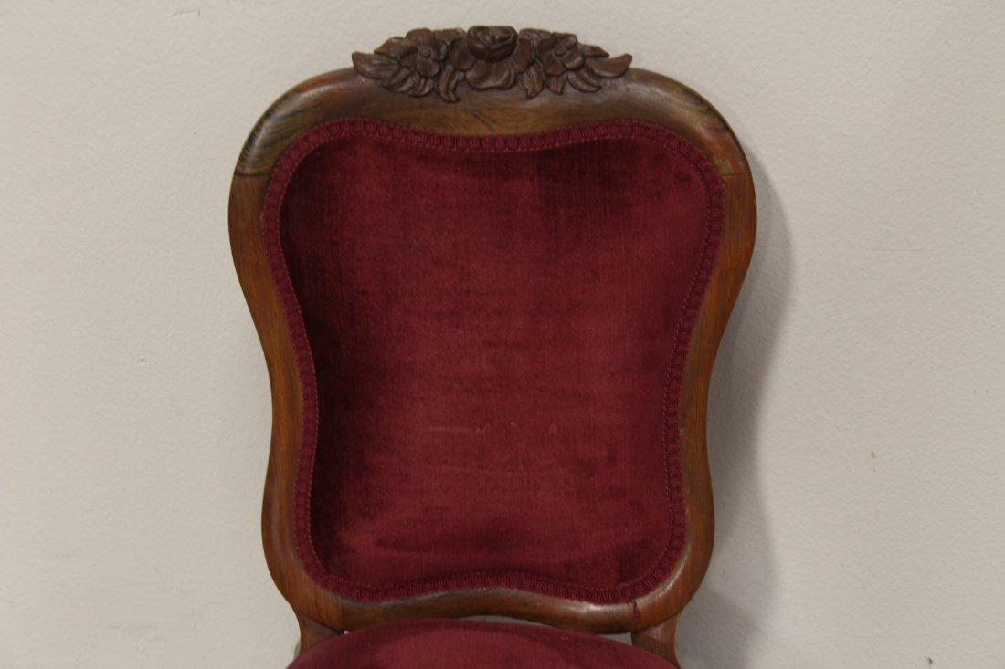 Rare Victorian walnut framed slipper chair - 2
