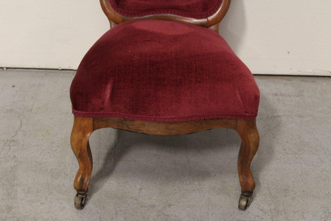 Rare Victorian walnut framed slipper chair - 3