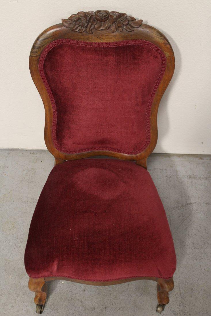 Rare Victorian walnut framed slipper chair - 4