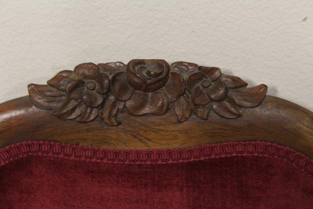 Rare Victorian walnut framed slipper chair - 5