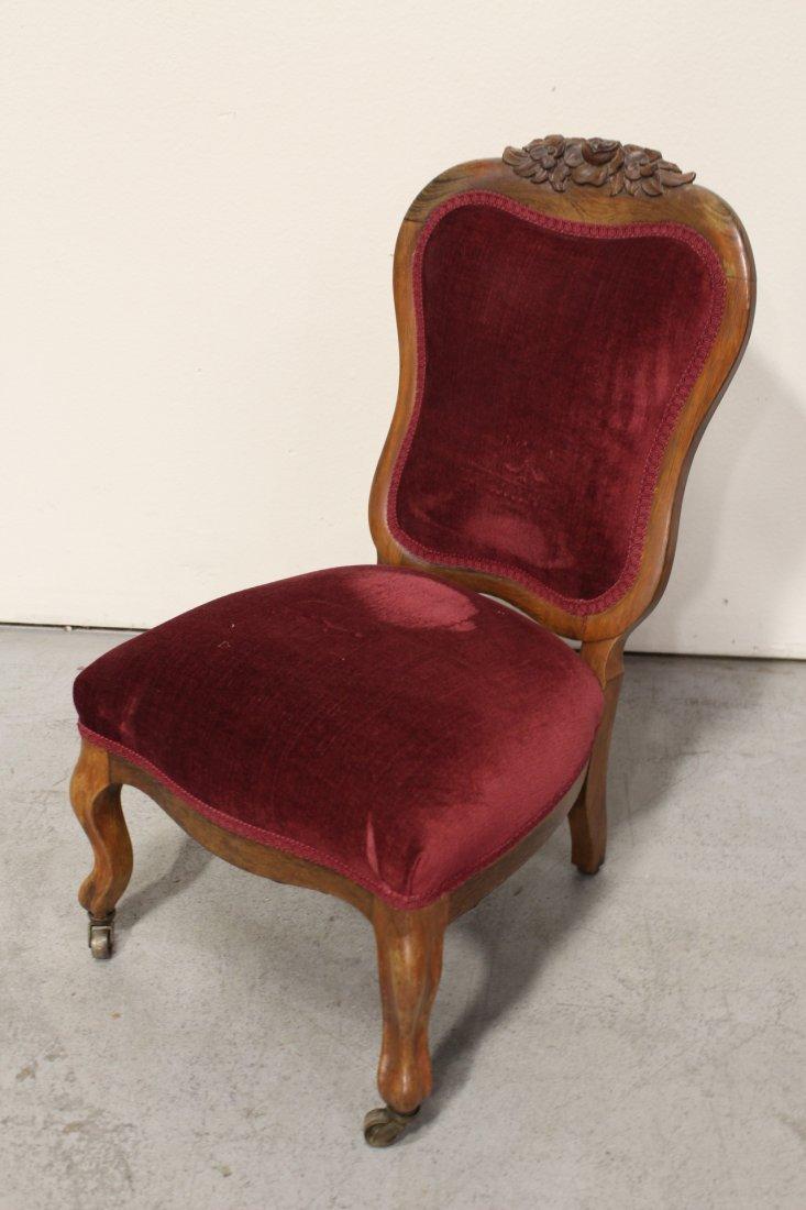 Rare Victorian walnut framed slipper chair - 6
