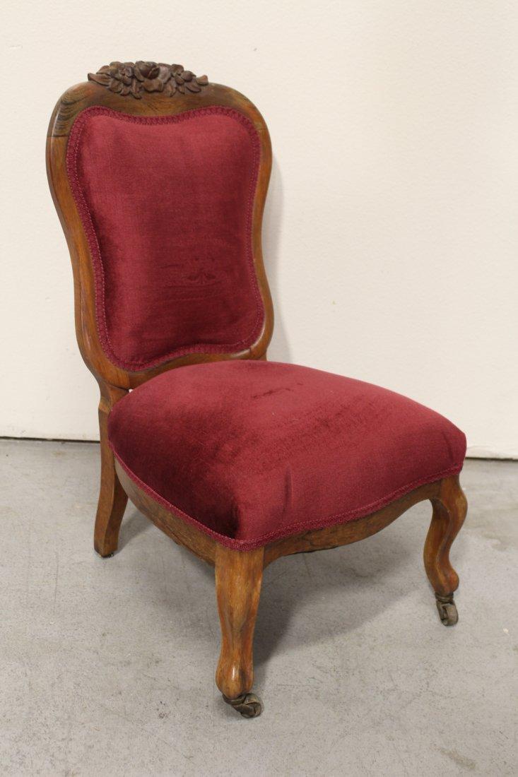 Rare Victorian walnut framed slipper chair - 7